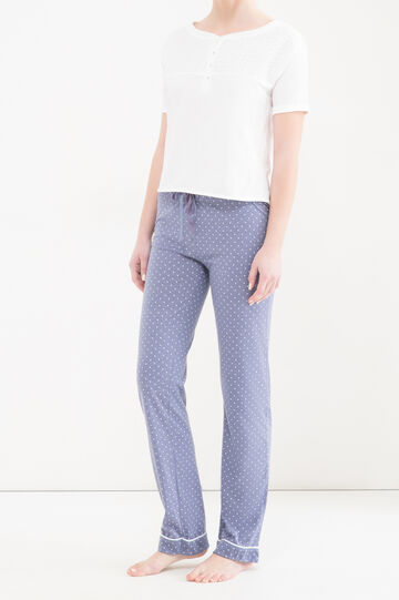 Polka dot pyjama trousers in 100% cotton, Blue Marl, hi-res