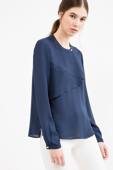 Solid colour blouse with flounces, Blue, hi-res