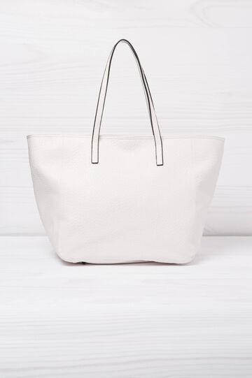 Leather look shoulder bag, White, hi-res