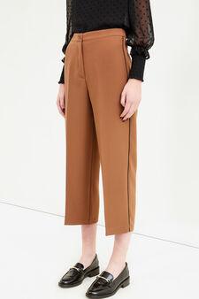 Pantaloni crop stretch con piega, Marrone, hi-res