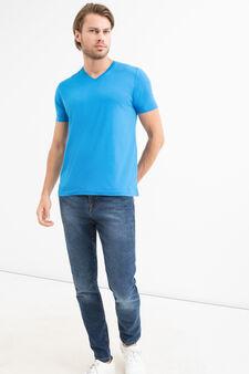 V-neck T-shirt in 100% cotton, Turquoise Blue, hi-res