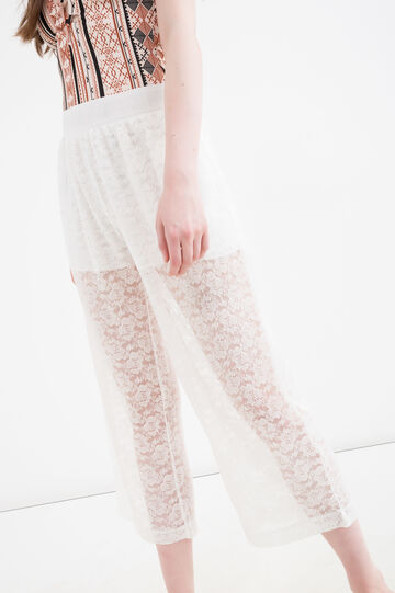 Lace trousers with high waist, White, hi-res