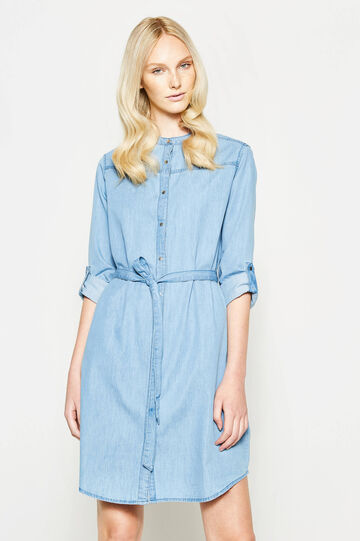 Suede dress with Mandarin collar, Soft Blue, hi-res