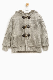 Solid colour cardigan with frogging, Grey Marl, hi-res