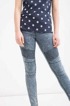 Jeans biker skinny fit stretch, Blu, hi-res