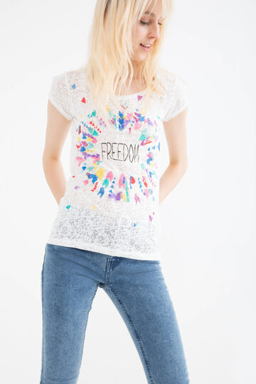 T-shirt misto cotone stampata, Bianco latte, hi-res
