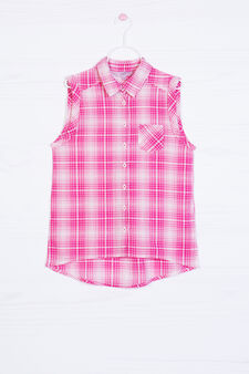 Check shirt in 100% cotton, Fuchsia, hi-res