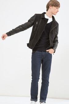 Solid colour cotton blend jacket, Black, hi-res