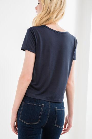 Printed crop T-shirt in viscose blend, Blue, hi-res