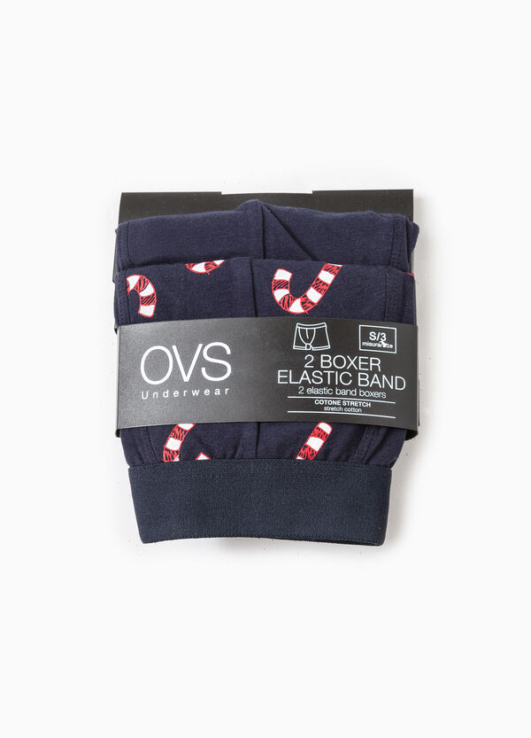 Set of two boxer shorts solid colour and all-over print | OVS