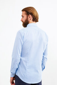Slim-fit micro-check formal shirt, Soft Blue, hi-res