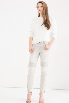 Jeans stretch con strappi skinny fit, Grigio, hi-res