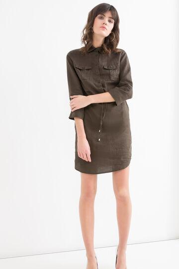 Solid colour 100% linen dress, Army Green, hi-res
