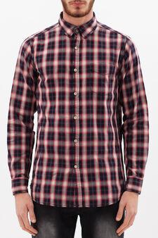 Camicia puro cotone quadri, Nero/Rosso, hi-res