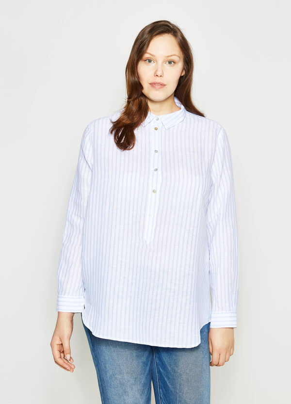 Curvy striped linen blend shirt | OVS