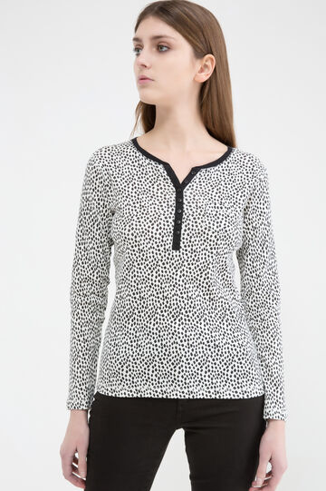 Patterned T-shirt in 100% cotton, White/Black, hi-res
