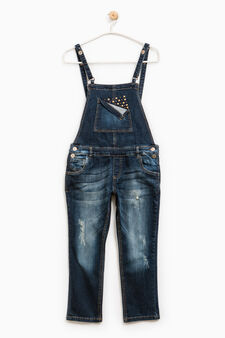 Denim dungarees with studs, Blue, hi-res