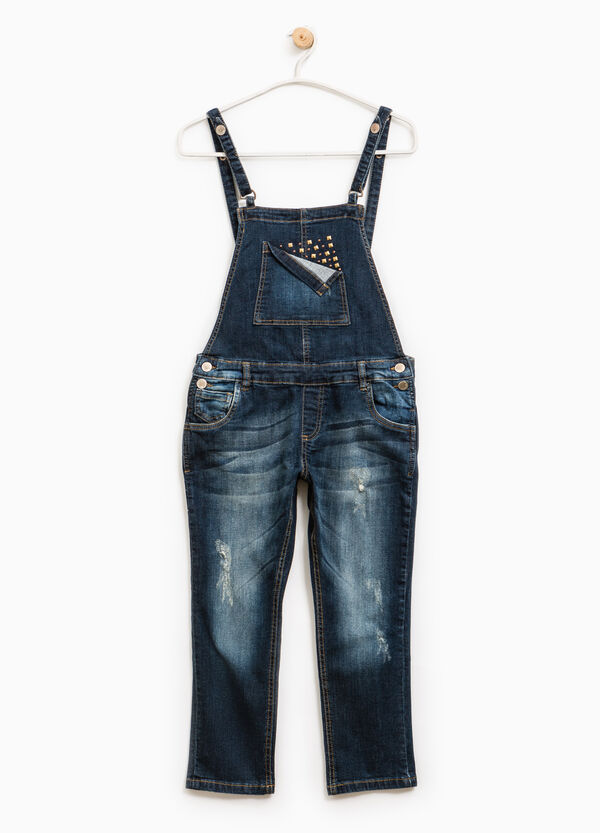 Denim dungarees with studs   OVS
