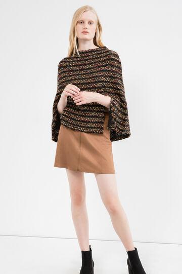 Poncho corto misto lana e lurex, Multicolor, hi-res