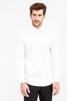 Camicia formale tinta unita slim fit, Bianco, hi-res