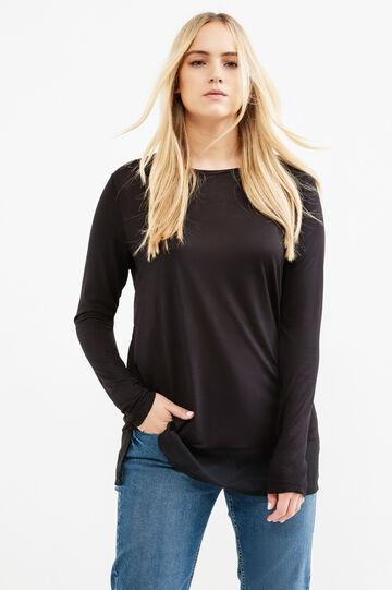 T-shirt misto viscosa finto doppio Curvy, Nero, hi-res