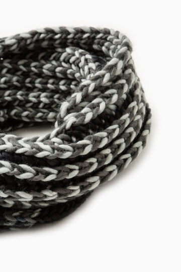 Mélange chunky knit scarf, Black/Grey, hi-res