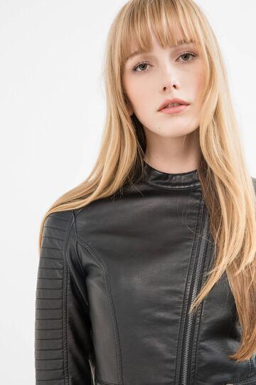 Leather look jacket with mandarin collar, Black, hi-res