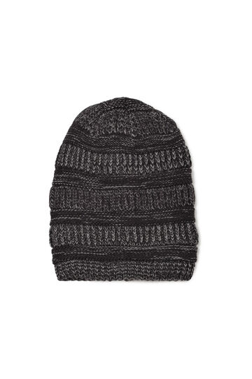 Striped knitted beanie cap, Black, hi-res