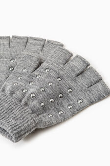 Stretch gloves with studs, Grey Marl, hi-res
