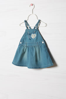 Pinafore dress with lace, Denim Blue, hi-res