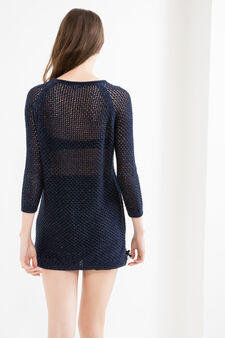 Long knitted pullover with three-quarter sleeves, Navy Blue, hi-res