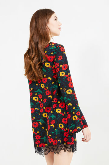 Dress with floral print and lace, Black, hi-res