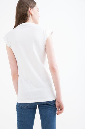 T-shirt maxi stampa puro cotone, Bianco, hi-res