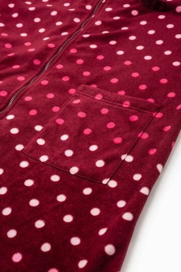 Fleece robe with all-over print, Claret Red, hi-res