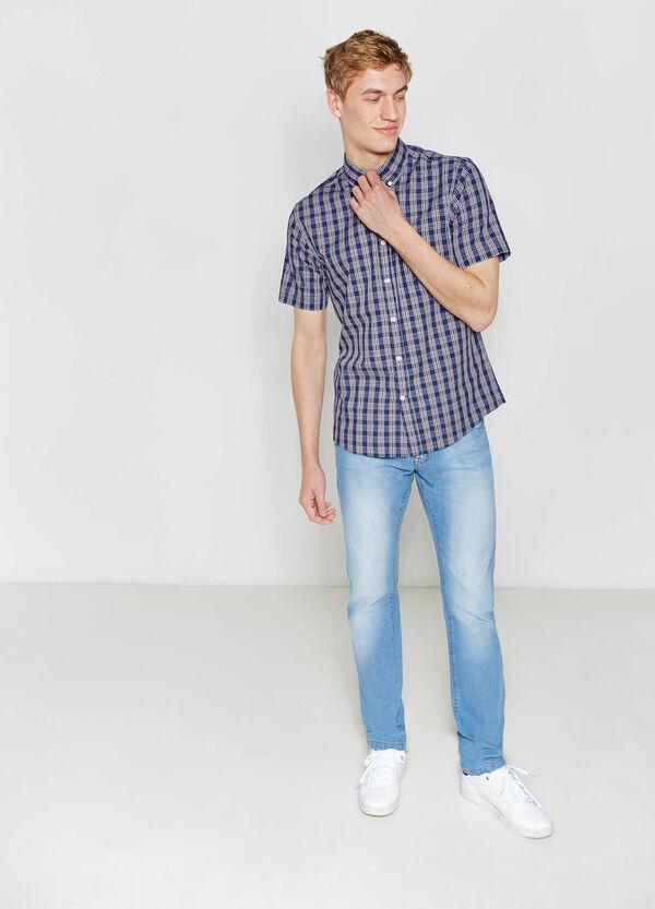 Cotton blend casual tartan shirt | OVS