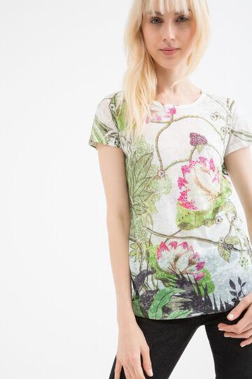 Floral viscose T-shirt with diamanté detail