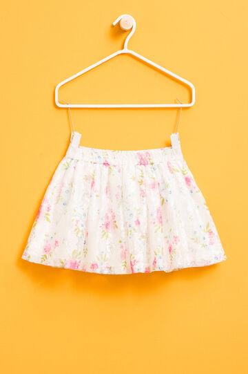 Falda de encaje con estampado floral, Blanco/Rosa, hi-res