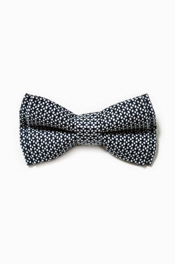 Patterned bow tie in cotton, White/Black, hi-res
