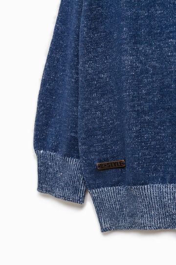 Ribbed knitted pullover in cotton, Light Blue, hi-res