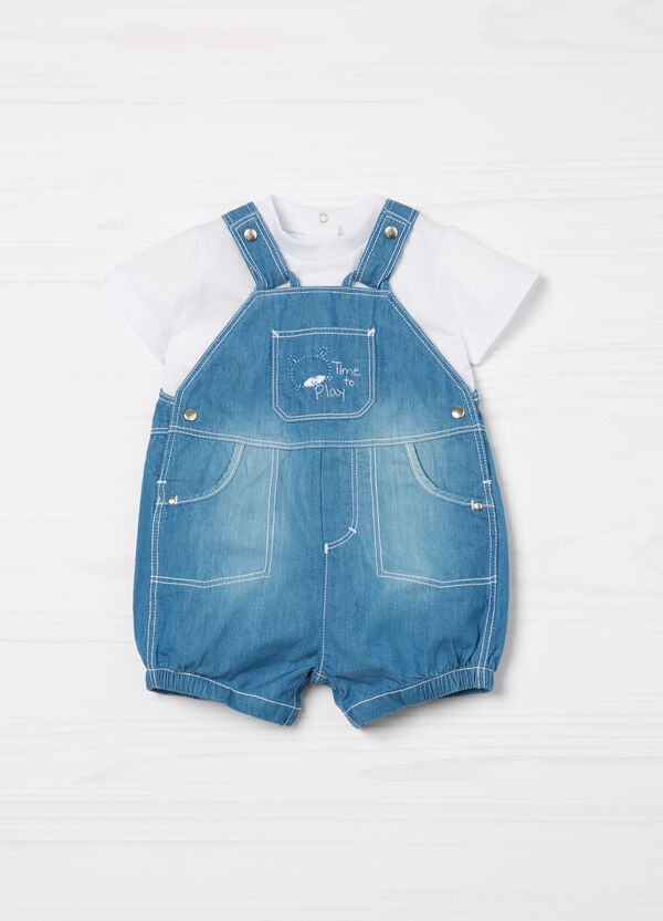 T-shirt and denim dungaree set | OVS
