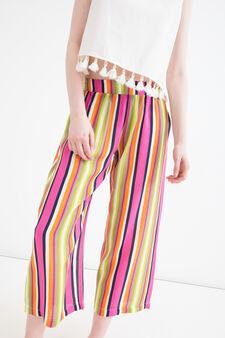 Striped trousers in 100% viscose, Multicolour, hi-res