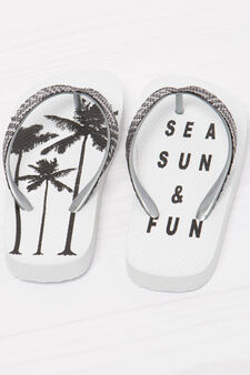 Solid colour printed thong sandals, White/Black, hi-res