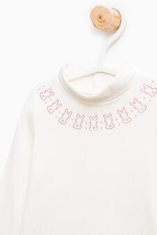 Body cotone stretch con strass, Bianco panna, hi-res