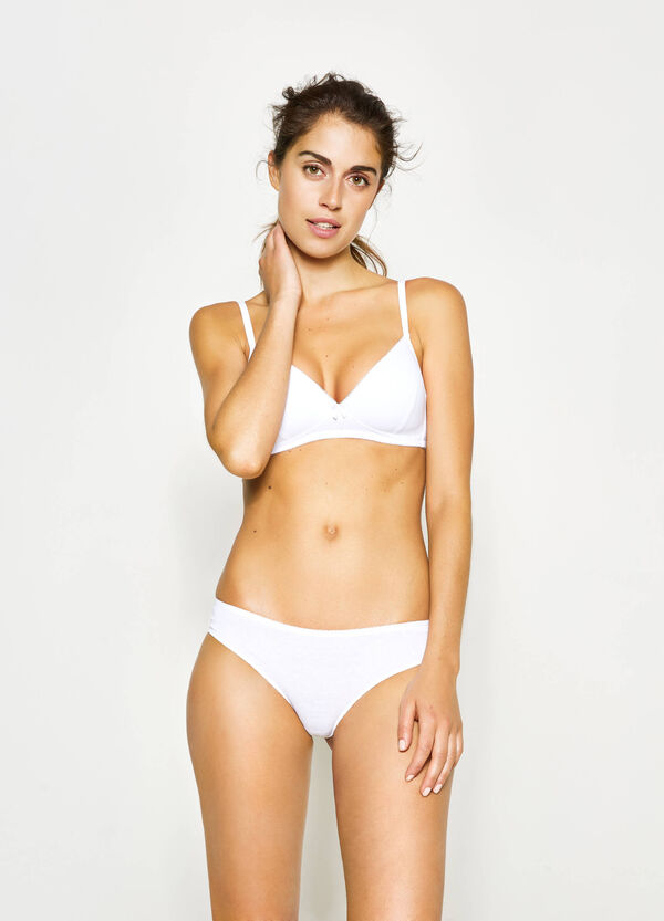 Two-pair pack solid colour and striped Brazilian-cut briefs | OVS