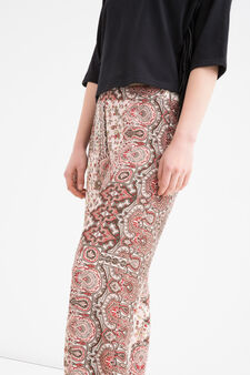 Pantaloni  stretch stampati, Rosa, hi-res