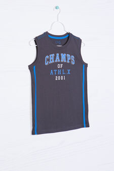 100% cotton vest top with lettering print, Smoke Grey, hi-res