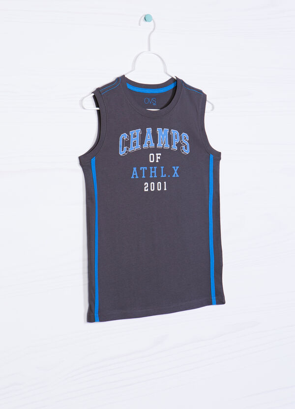 100% cotton vest top with lettering print   OVS
