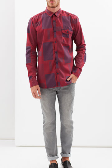 Check shirt with pockets, Black/Red, hi-res