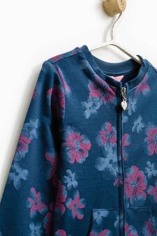 Floral pattern 100% cotton sweatshirt, Dark Blue, hi-res