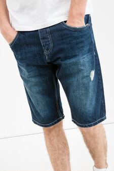 Bermuda di jeans slim fit used strappi, Lavaggio scuro, hi-res